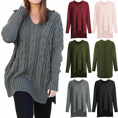 Womens V Neck Baggy Chunky Knitted Oversized Ladies Casual Sweater Jumper Top AU