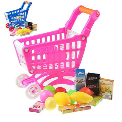 high quality ABS Kids Supermarket Mini Shopping Cart with Full Grocery Toy