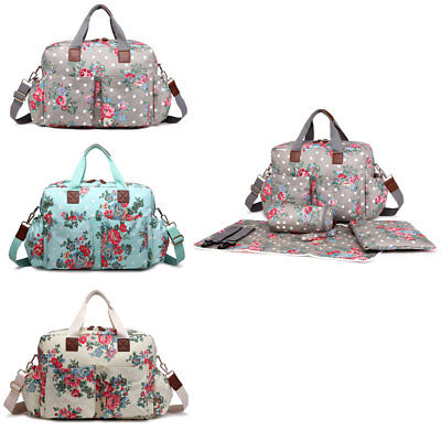 4pcs Flower Mummy Maternity Baby Nappy Diaper Changing Bag Set Wipe Clean