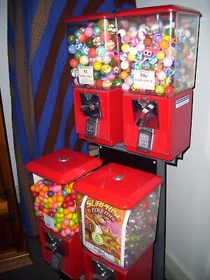 gumball machine,excellent condition,red,vintage,takes change has key,all working