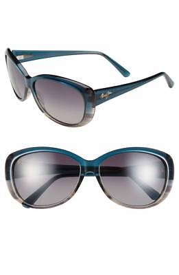 NEW Maui Jim women PIKAKE Blue Grey POLARIZED Grey Lens Sunglass MSRP $319