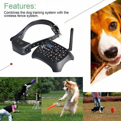Wireless Dog Training Shock 2 Collar Fence Pet Electric Trainer Devices IL