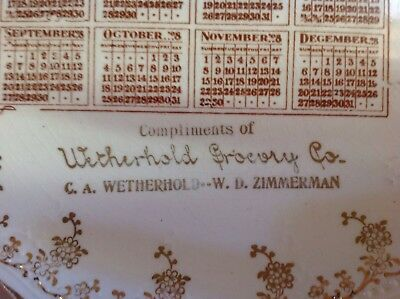 1908 Calendar Plate Witherhold Grocery Co. Allentown, Penna.