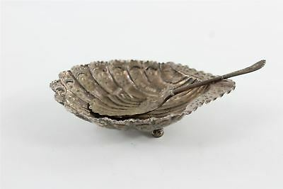 Antique 1890s .925 hallmarked sterling silver shell shaped dish & spoon 85g