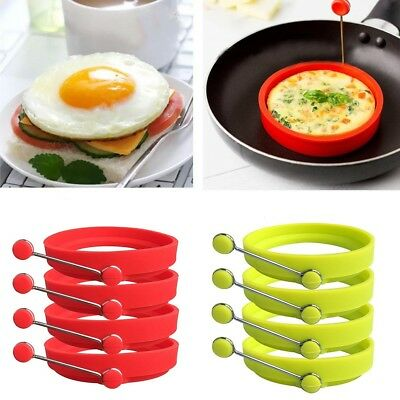 4Pack Silicone Egg Rings Round Silicone Egg Rings Round Non Stick Fried Egg Mold