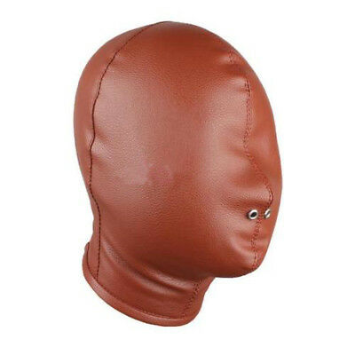 PU Leather Full Blindfold Hood with nose holes Mask Brown