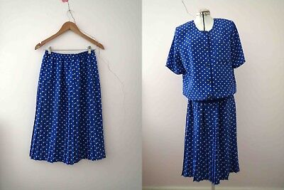 80s Cobalt Blue Polka Dot Pleated Skirt Suit Small Buy 3+items for FREE Post