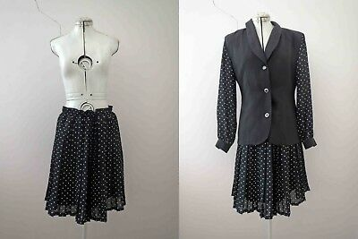 80s Black Polka Dot Pleated Skirt Suit Small Buy 3+items for FREE Post