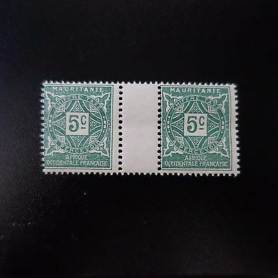 France Colonie Mauritanie Timbre Taxe N°17 Paire Avec Pont Neuf Luxe Mnh