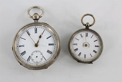 Vintage .800 / .925  silver cased fob watch & pocket watch FOR REPAIR 149g