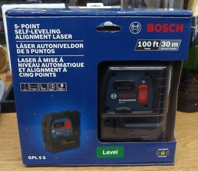 New Bosch 5 Point Self Leveling Alignment Laser Level 100ft/30m Model # GPL 5 S