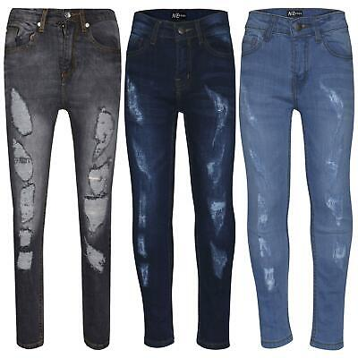 Boys Skinny Jeans Kids Denim Ripped Stretchy Pants Slim Fit Trousers 5-13 Years