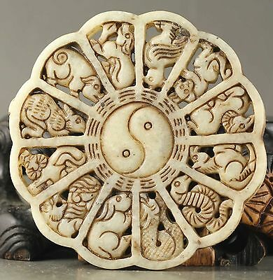 Chinese old natural jade hand-carved statue zodiac pendant 招财进宝