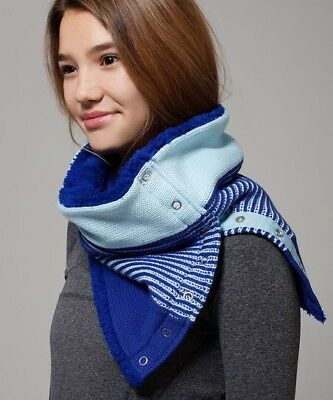 Ivivva By Lululemon Snow Salutations Vinyasa Scarf Blue Hyper Stripe Button