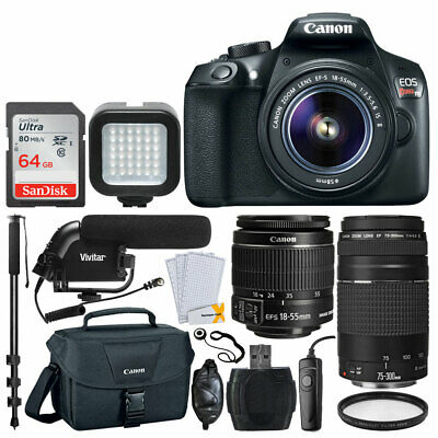 Canon EOS Rebel T6 SLR Camera + 18-55mm & 75-300mm Lens + 64GB + Mic - Video Kit