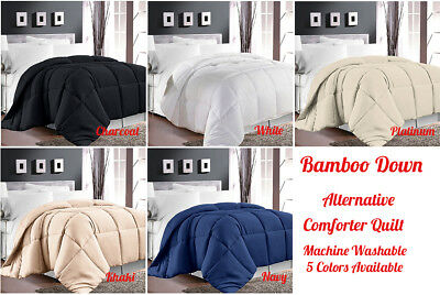 Bamboo Down Alternative Comforter Coverlet Light Weight Quilt Double Queen King