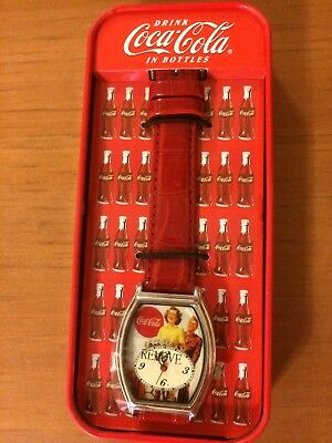 Vintage Coca-Cola Collectible Watch in Refrigerator Tin - New in Box