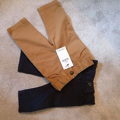 Marks & Spencer's baby boy chinos 3-6 months navy and tan. Brand new with tags.