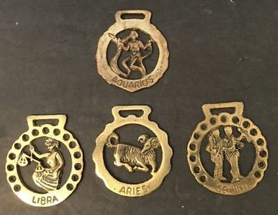 4X Brass Zodiac Sign Horoscope Horse Bridle Medallions Ornaments England