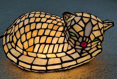 """VINTAGE STAINED GLASS TIFFANY KITTY CAT ACCENT LAMP Leaded Slag LARGE Light 11"""""""