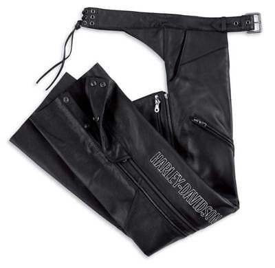 Harley-Davidson Women's Deluxe Leather Motorcycle Chap Black 98097-06VW