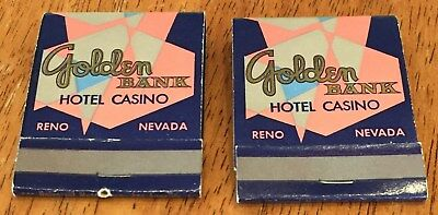 Vintage 2 Full Matchbooks. Golden Bank Hotel & Casino. Reno, Nevada