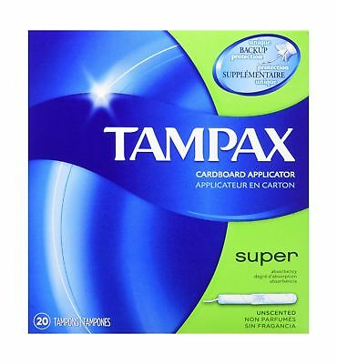 Tampax Cardboard Applicator Tampons, Super Absorbency, Unscented, 20 Count - ...