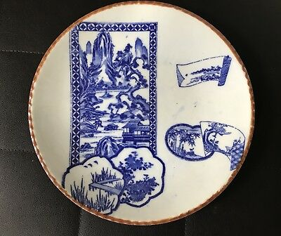Korean Oriental Asian Vintage Large Blue and White Porcelain Plate 10inches