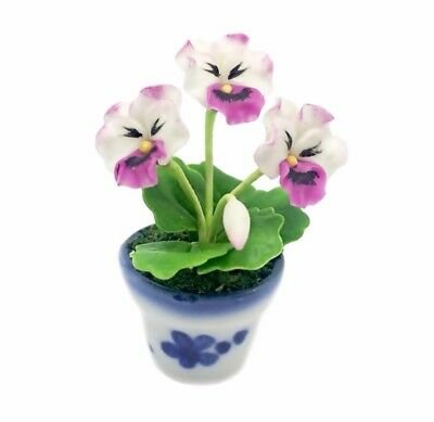 White Pink Pansy Clay Flower Ceramic Pot Dollhouse Miniature Tiny Handmade