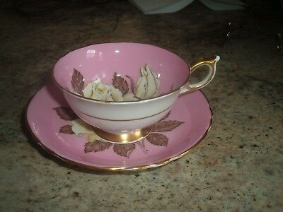 Paragon Cup and Saucer White Rose Pink Background Reg