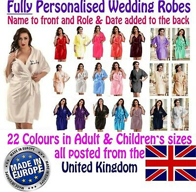 Fully Personalised Wedding Robe / Gown Adult & Children's Sizes Bridal 19 colour