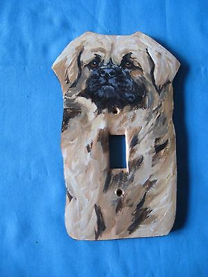 Tibetan Spaniel Wooden Handpainted Lightswitch Plate - New and Unique by S Sweet