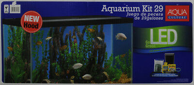 Aqua Culture Aquarium Starter Kit Set 29 Gallon LED Lighting Tetra Filter Clear