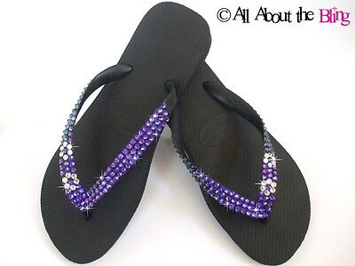87f93b8598490 HAVAIANAS flip flops with SWAROVSKI CRYSTALS Purple blue Color Changing  STUNNING