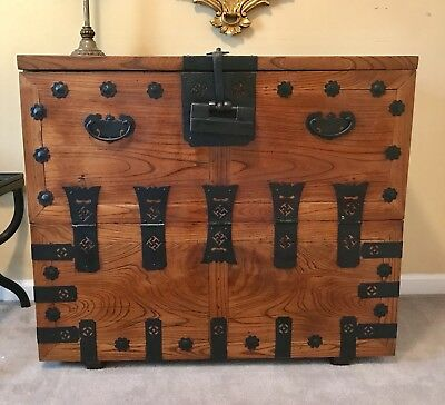 Korean Asian Tansu Chest Vintage Antique with Black Wrought Iron Accents and key