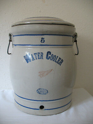 Red Wing Water Cooler Crock 5 Gallon w Lid Vintage Antique