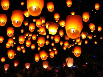 50Pcs White Color Paper Chinese Sky Fly Candle Lanterns Lamp Party Wedding Wish
