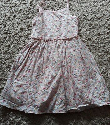next girls pink floral lined spaghetti strap dress age 9 years
