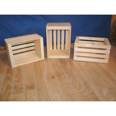 Handmade Unfinished Wooden Crates Box Small Storage Reception Rustic Decor