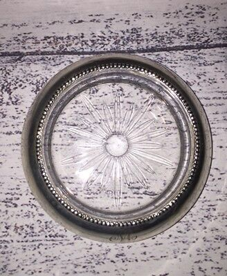 Vintage Frank Whiting Sterling Silver And Glass  Coaster