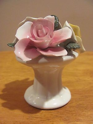 Vintage Lefton England Bone China Pink Yellow Green Roses Leaves Figurine