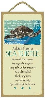 Advice from a Sea Turtle Inspirational Wood Nature Sign Plaque Made in USA