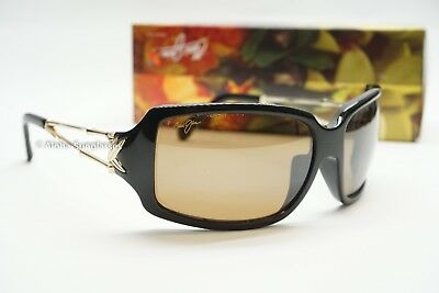 NEW Maui Jim BAMBOO Black and Gold w HCL Bronze Lens women Sunglasses