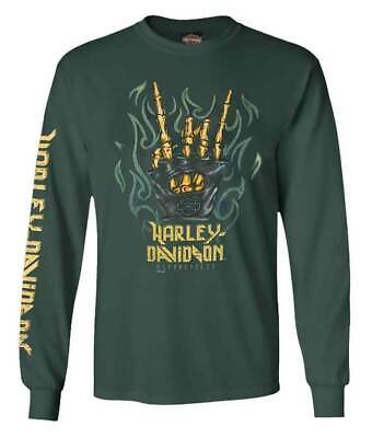 Harley-Davidson Men's Sinister Wrath Long Sleeve Crew Shirt, Green 5L36-HF4N