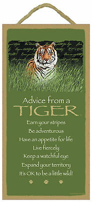 Advice from a Tiger Inspirational Wood Wild Animal Nature Sign Plaque Made in US