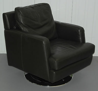 Premium Brown Leather Chrome Base Feather Filled Cushion Danish Swivel Armchair