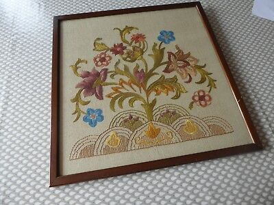 Vintage Hand Embroidered Picture- Fabulous Embroidery Jacobean/art Nouveau Style