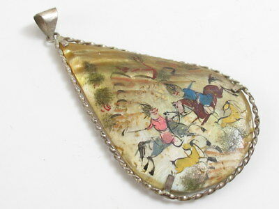 Antique Japanese White Metal Mother Of Pearl Painted Drop Pendant Horses Birds
