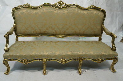 5pc Rococo Louis Italian Gilt Wood  Damask French Style Fabric Sofa & 4 Chairs