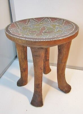 """TRIBAL STOOL with Inlaid BEAD WORK TOP / CARVED From ONE PIECE of WOOD/ 12"""" Tall"""